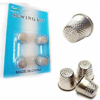 4 Sewing Finger Shield Metal Stitching Thimble Pin Grip Needle Protector Craft