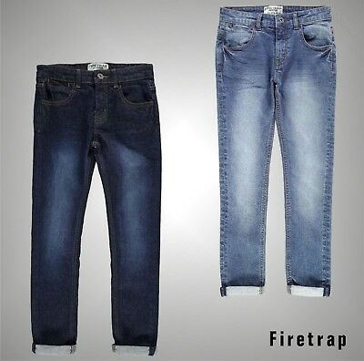 New Junior Boys Branded Firetrap 5 Pockets Skinny Jeans Trousers Size Age 8-13