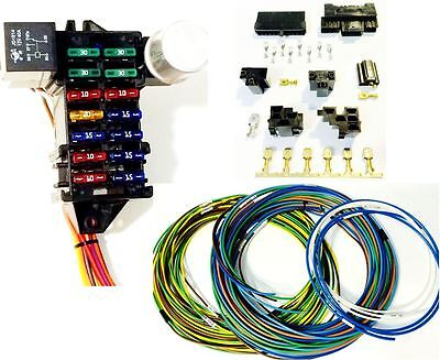 Street Rod Universal 14 Fuse 12-14 Circuit Wire Harness w-Connectors US MADE GXL
