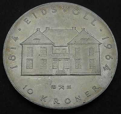 NORWAY 10 Kroner ND(1964) - Silver - Constitution sesquicentennial - VF/XF #2118