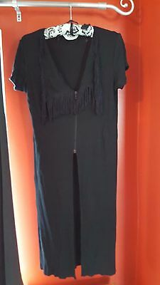 Vintage 1991 Black Aqua by Shirley Wong Long Tassled Waist Coat Boho Style
