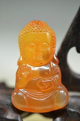 Good quality Chinese agate Skillfully carving Buddha Pendant ak8