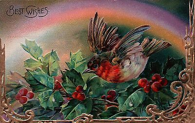 Beautiful Gold Trimmed Rainbow BIRD and Holly with Berries Vintage Postcard