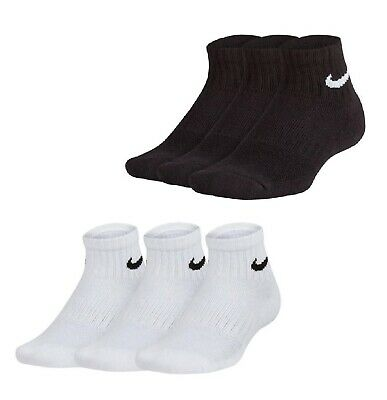 3 Pack Boys Girls Nike Swoosh Everyday Quarter Socks Sizes Chd C9-10 Chd C10-12