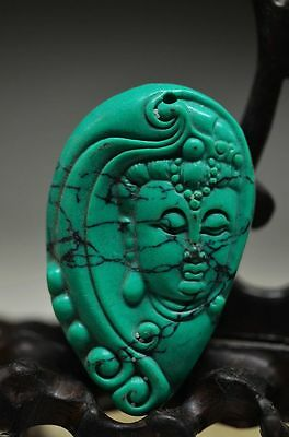 Delicate Chinese Turquoise Hand Carved Kwan-yin Pendant ak8