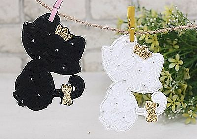 Lace Cat Sew on Appliques Embellishment Black Animal Patch Card making (F79