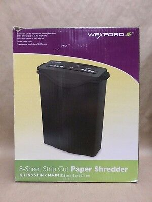 Wexford Paper Shredder Up To 8 Sheets Strip Cut 3 Way Power Switch Black New