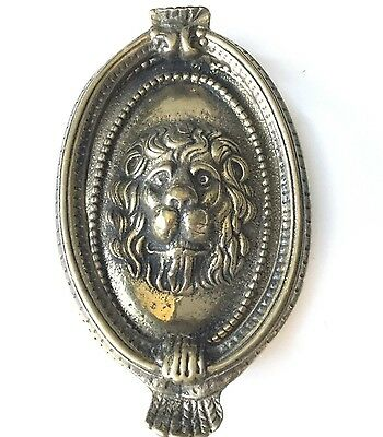 "Vintage Lion Head Solid Brass Door Knocker 6"" tall 3.5"" wide"