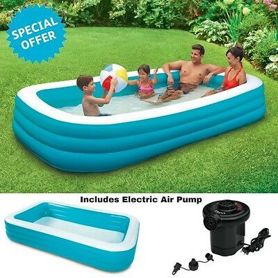 Family Above Ground Swimming Pool Inflatable Outdoor Fun Kids +Electric Air Pump