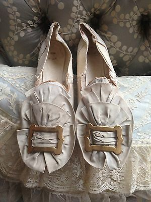 Beautiful Antique 1860 Pale Blue/grey Silk Large Rossette Straight Shoes