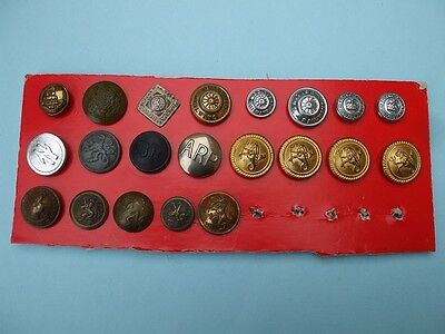 21 Old Buttons Mostly Railway.