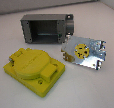 Marine Receptacle 125v 20A, Hubbell HBL60W33H with FS-2 Box