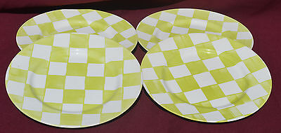 Habitat Discontinued GREEN/WHITE CHECKED MONACO DINNER PLATES X 4