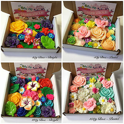 LUCKY DIP Mix JOB LOT Flowers Resin / Clay Cabochons Decoden Bright / Pastel