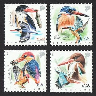Singapore 2017 Kingfishers Bird Comp. Set Of 4 Stamps Mint Mnh Unused Condition