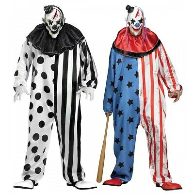 Evil Clown Costume Adult Scary Halloween Fancy Dress
