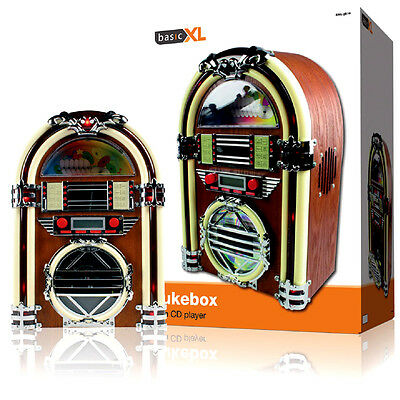BasicXL Retro Jukebox with AM/FM Radio and CD Player - Cherry Wood