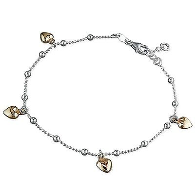 "8.5""-10"" Ladies Sterling Silver Bead Chain with Rose Gold Plated Heart Charms"