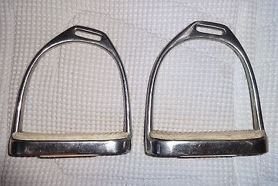 "Double OFFSET Stirrups - Stainless Steel - 4 1/2"" Size - NICE!  English/Dressage"