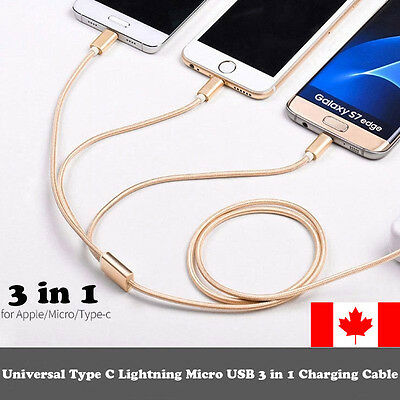 3 in1 USB Data & Charger Cable for Android Samsung  IPhone iPad 5s 6 6s Plus