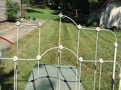 Antique Wrought Iron Bed Headboard, Footboard and Rails