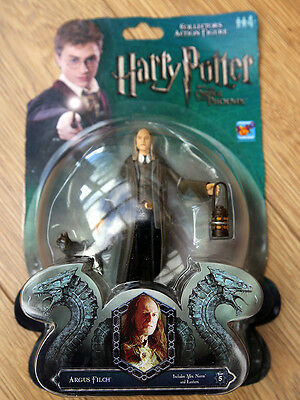 "Harry Potter Action Figure OF ARGUS FILCH and CAT 3.75"" Inch RARE FIGURE"