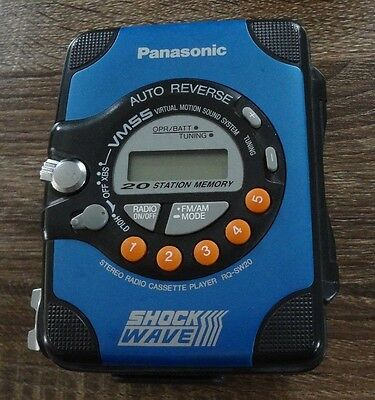 Rare Blue Panasonic Shock Wave Cassette Tape Radio Stereo Walkman! RQ-SW20 WMSS