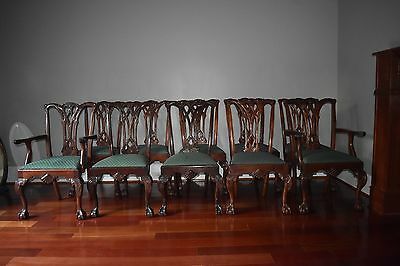 Craftique Philadelphia Chippendale style mahogany dining chairs set of ten