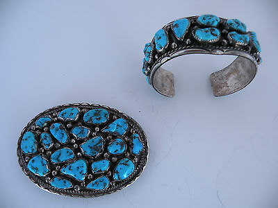 Old Native American Navajo Sterling bracelet buckle set, rustic Turquoise nugget