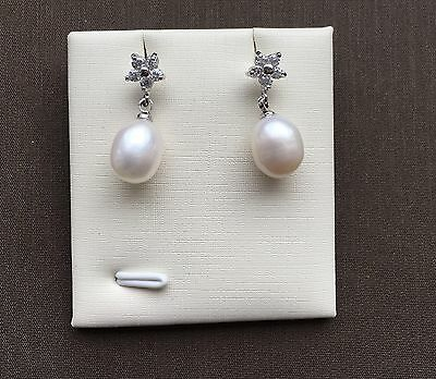 Genuine Quality High Luster Freshwater Pearl CZ Stone 925 Silver Earrings Studs