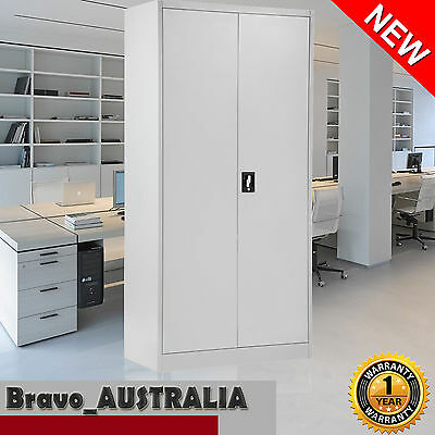 Metal Steel Storage Cabinet Lockable Stationary Office Garage Cupboard 185cm