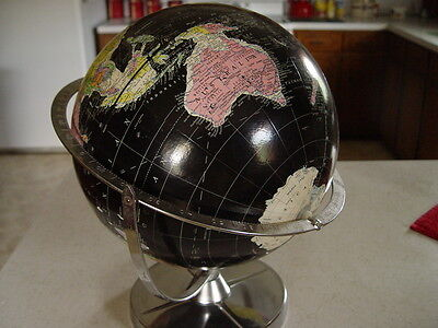 "Vintage World Globe Encyclopedia Britannica 12"" Black USSR 1950's 60's Dual Axis"