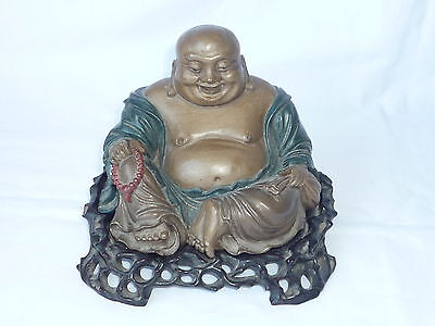 Antique/Old Chinese Wooden Carved Lacquer Painted Buddha Figure Statue - Marks