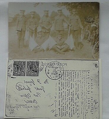 Original 1914 Postcard Ww1 Soldiers Isle Of Wight Rifles At Training Camp