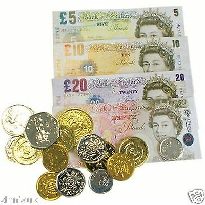 Pretend Play Money Set Fake Sterling Notes Coins Pound Cash Shop Role Game Toy