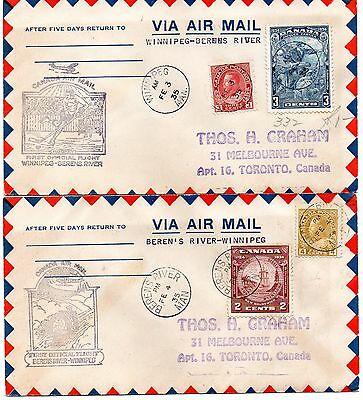 2 Canada airmail covers first flights between Berens River and Winnipeg 1935