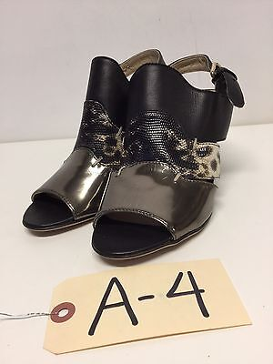 A4 NEW AGL Black Leather Ankle Strap Wedge Pumps Womens Size 36