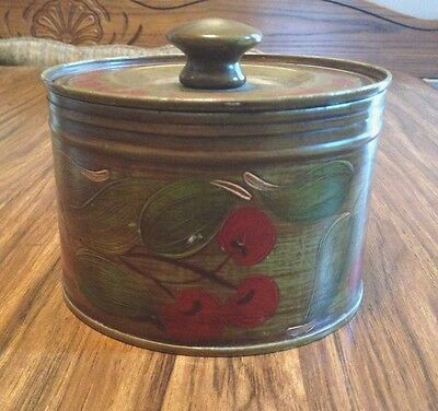 Vintage Hand Painted Tole Tin Can With Cherry and Leaf Design