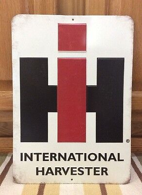 International Harvester IH Metal Sign Farm Equipment Barn Tools Tractor Feed 1