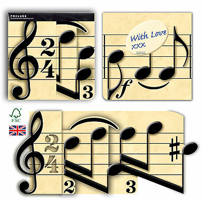 Music Notes 3D greeting card pop-up birthday, anniversary, wedding, celebration