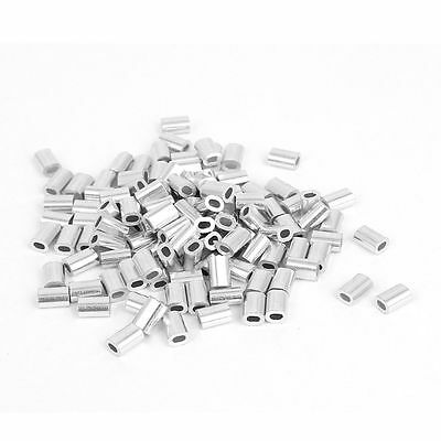 0.8mm 1/32-inch Wire Rope Aluminum Ferrules Sleeves Silver Tone 100