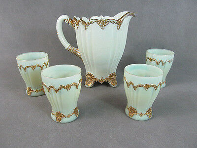 "c1907 DUGAN Custard Glass ""The Fan"" 5 Pc WATER SET Pitcher w/4 Tumblers"