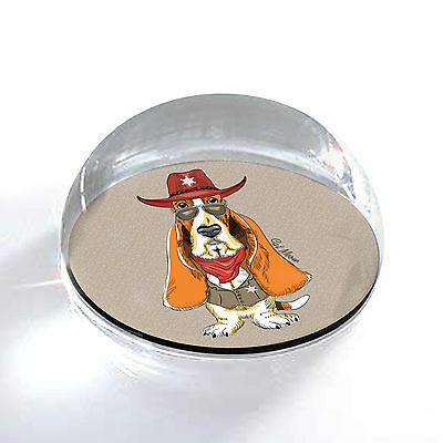 """Basset Hound Sheriff Dog Art 2"""" Crystal Half Moon Magnet and Paperweight"""