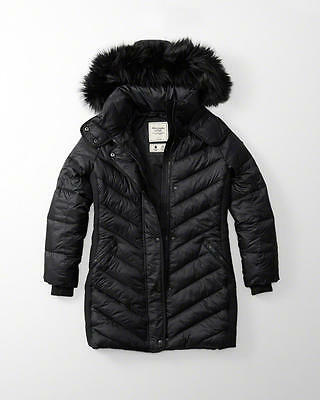Abercrombie & Fitch Womens Hooded Puffer Quilted Nylon Parka Jacket Black Medium