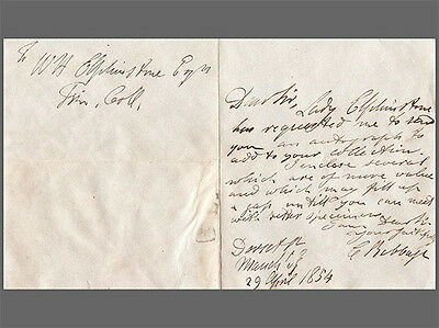 Letter Babbage to Elphinstone, sending autographs for his collection, 1854