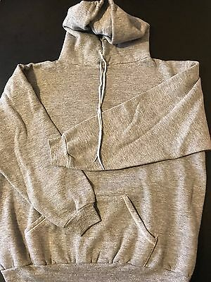 Vintage 80s Russell Athletic Grey Gray Tri-Blend Hooded Sweatshirt Workout Gym