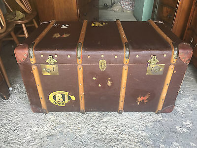 Large Vintage Steamer Trunk with Leather Corners and Wooden Straps