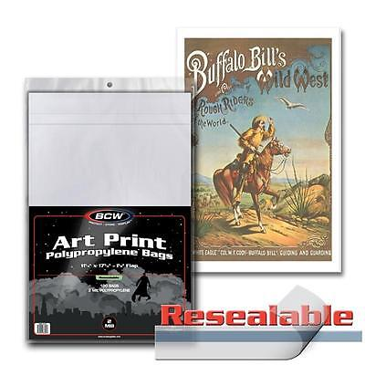 100 BCW 11x17 Art Print Bags / Sleeves - Resealable - Acid Free - 2 Mil Poly Bag