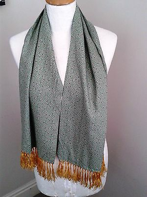 Tootal Vintage Retro Green Paisley Scarf with Tassels