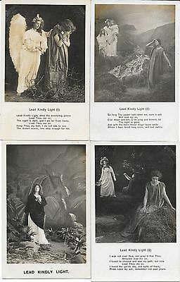 1375 Bamforth Song Card Set Of 4 Lead Kindly Light Allposted 1906